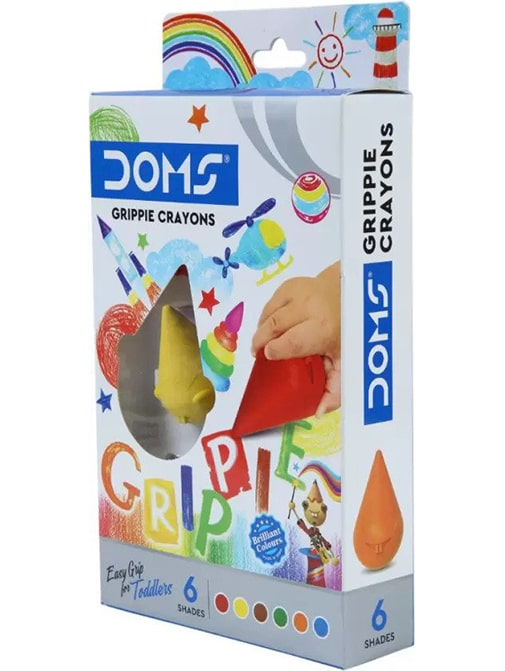 DOMS Grippie Crayons 6 Shades (Multicolor, Pack of 1)