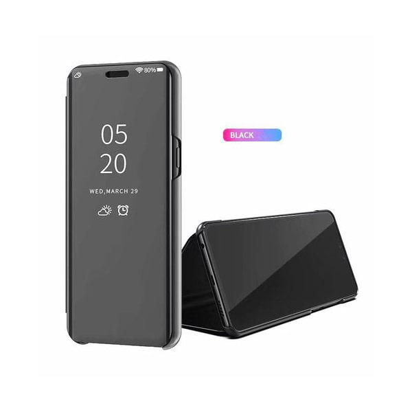 zekaasto Oppo Realme X, Mirror Flip Cover Black, Duel Protection, Luxury Case, Comfortable Standing View Display, Clear View.