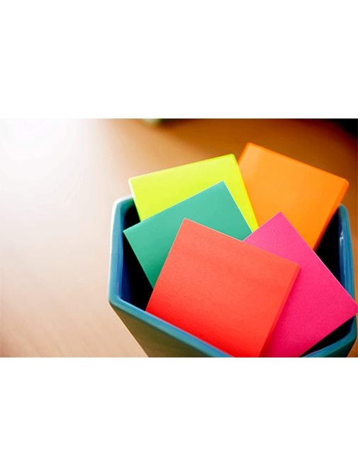 Rexon Flourescent Self Stick Notepad (Assorted Colors, 75 x 75 mm, 100 Sheets, Pack of 2)