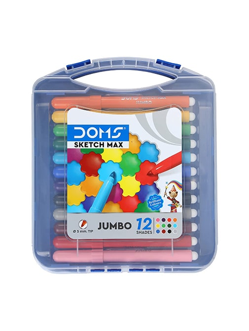 Doms Non-Toxic Max Jumbo Sketch Pen (12 Assorted Shades, 5 mm Tip)