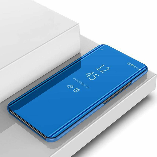zekaasto OnePlus 7, Mirror Flip Cover Blue, Duel Protection, Luxury Case, Comfortable Standing View Display, Clear View