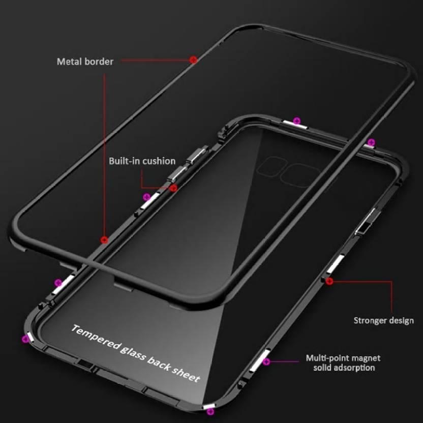 Zekaasto Mi Redmi Note 6 Pro, Electronic Auto-Fit, Full Protection, Magnetic Transparent Glass Case(Black)