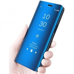 zekaasto-vivo-v15-mirror-flip-cover-blue-duel-protection-luxury-case-comfortable-standing-view-display-clear-view376