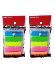 sticky-neon-transparent-indexing-plastic-flags-notepad-blue-green-yellow-pink-and-orange-1.3-x-4.5-mm-125-flags-pack-of-21141