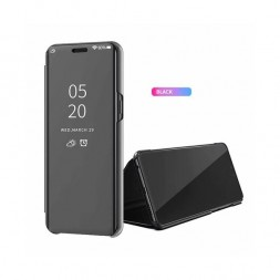 zekaasto-oppo-realme-5--mirror-flip-cover-black-duel-protection-luxury-case-comfortable-standing-view-display-clear-view