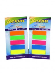 rexon-plastic-self-stick-flags-44-x-12-mm-125-flags-orange-green-pink-blue-and-yellow-pack-of-21138