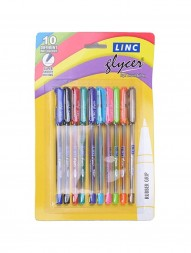 linc-glycer-ball-pen-combo-of-blue-black-red-green-turquoise-blue-violet-orange-pink-golden-lime-green-ink-0.6-mm-assorted-body-pack-of-10301